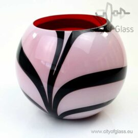 Round vase Zebra with red inside by Loranto - 24 cm