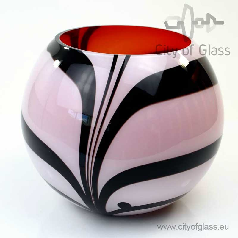 Round vase Zebra with red inside by Loranto - 24 cm