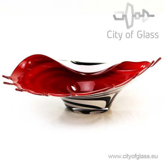 Low vase Zebra with red inside by Loranto - 12 cm