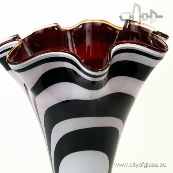 High vase Zebra with red inside by Loranto - 40 cm