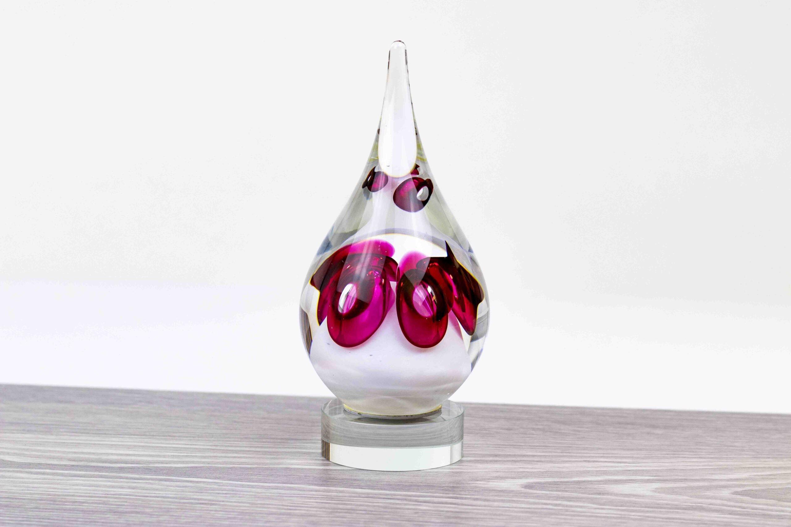 Mini Urn Kristallen Druppel op sokkel Ozzaro rood wit H17 cm