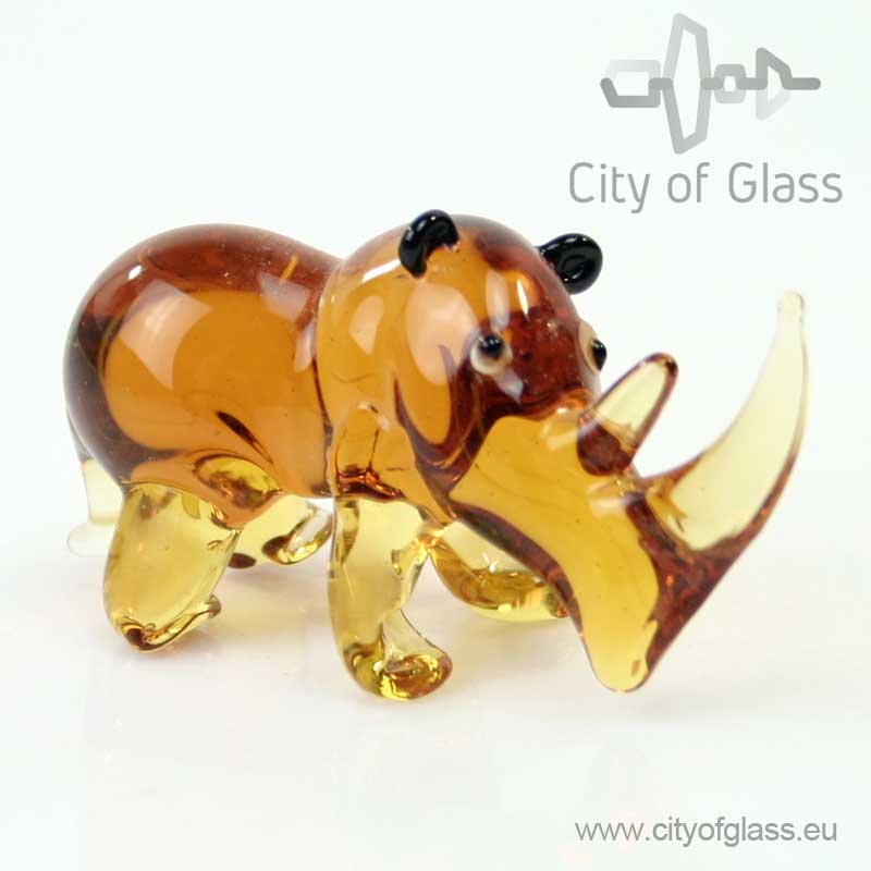 Glazen figuur Neushoorn van Loranto