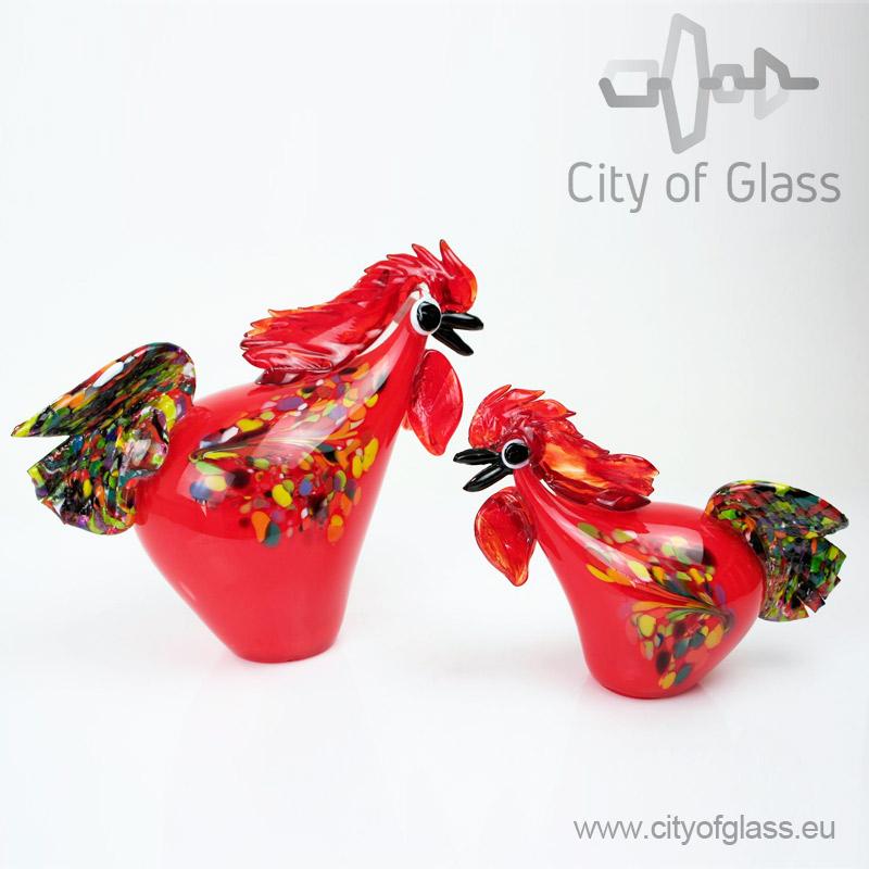 Glazen haan van Loranto - rood