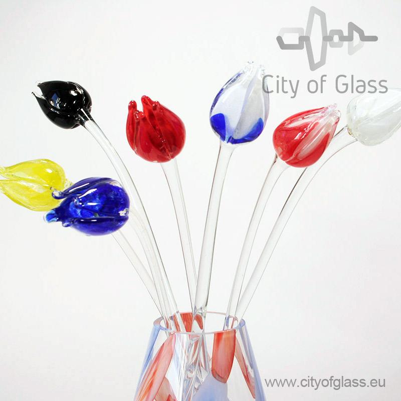 Glazen tulp van Loranto - rood/wit