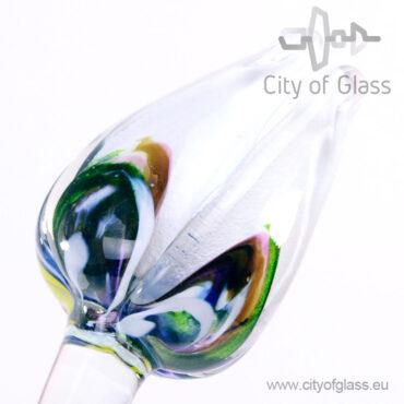 Glazen tulp van Loranto - wit/veelkleurig
