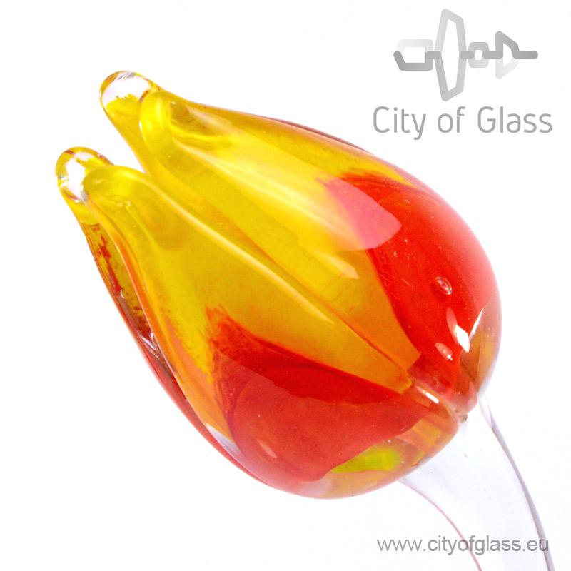 Glazen tulp van Loranto - geel/rood