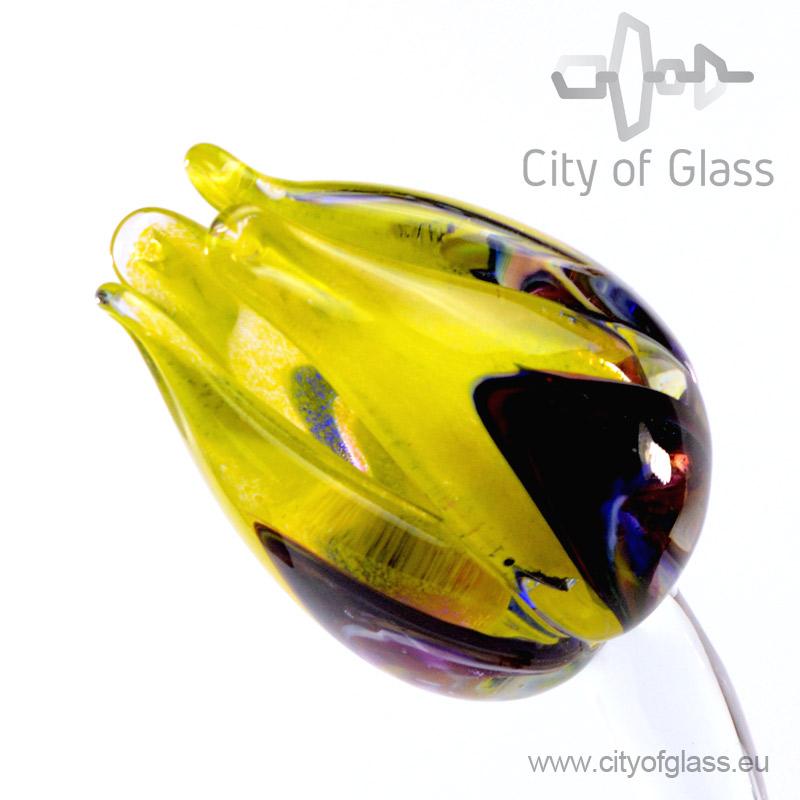 Glazen tulp van Loranto - geel/veelkleurig
