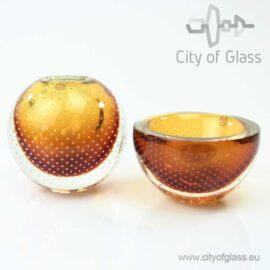 Goudbruine kristallen spijkervaas of kom van Ozzaro