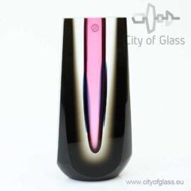 Geslepen kristallen object van Ozzaro met zwart en roze - 24 cm