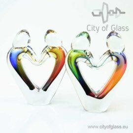 Glassculptuur Verbondenheid hartvormig van Ozzaro