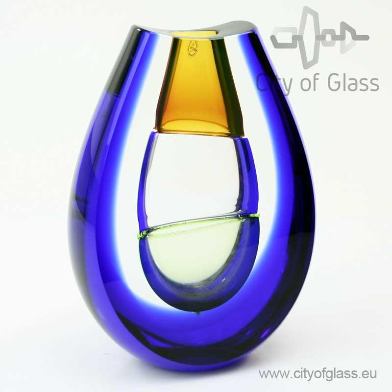 Geslepen kristallen object van Ozzaro met blauw en geel - 23 cm