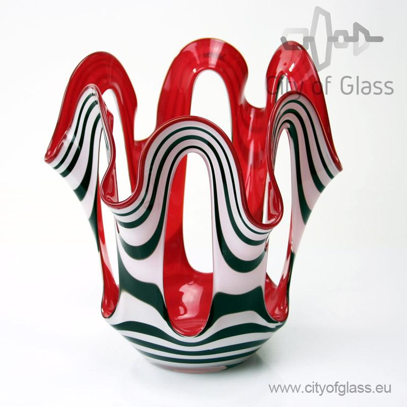 Waaiervaas Zebra met rode binnenkant van Loranto - 30 cm