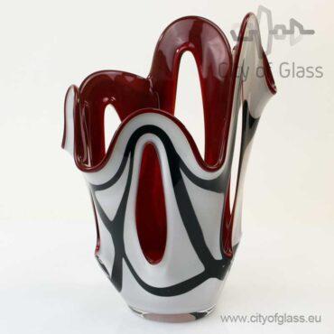 Wit met zwarte waaiervaas met rode binnenkant van Loranto - 35 cm