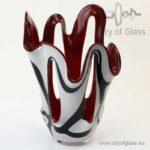 Wit met zwart bolle vaas met rode binnenkant van Loranto - 21 cm