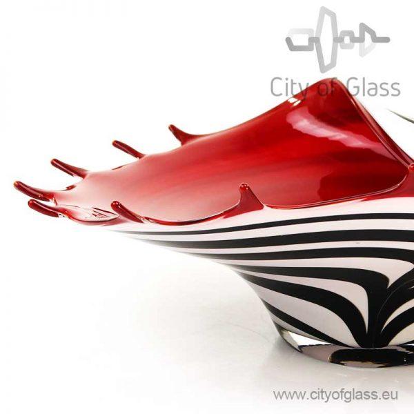 Lage vaas Zebra met rode binnenkant van Loranto - 39 cm