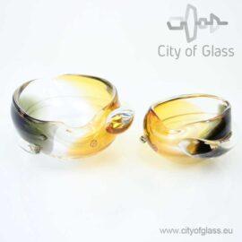 Kristallen hart in amber en zwart van Ozzaro