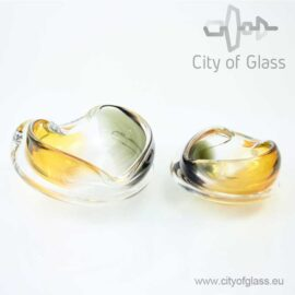 Crystal bowl in amber and black by Ozzaro