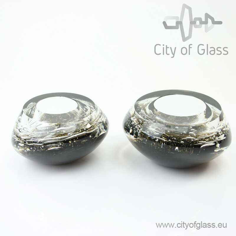 Kristallen glasobject Black & Gold van Ozzaro