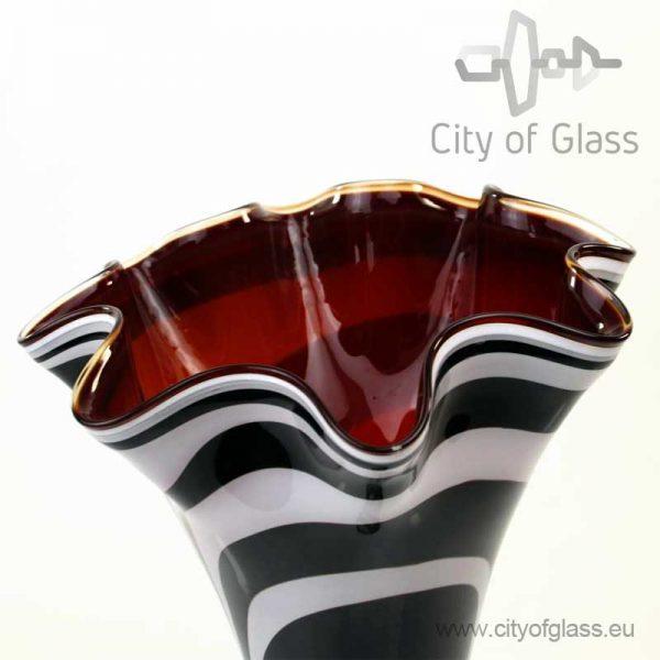 Hoge vaas Zebra met rode binnenkant van Loranto - 40 cm