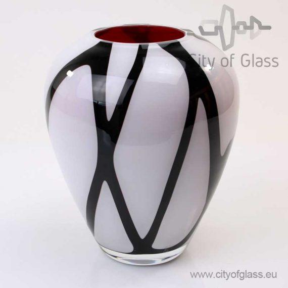 wit zwarte bolle vaas van Loranto 21 cm