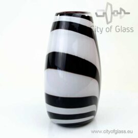 Platte vaas Zebra met rode binnenkant van Loranto - 30 cm