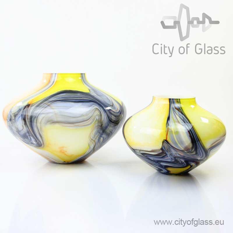 Glazen vaas geel met grijs van Loranto