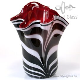 Zebra bloemenvaas met warm rode binnenkant