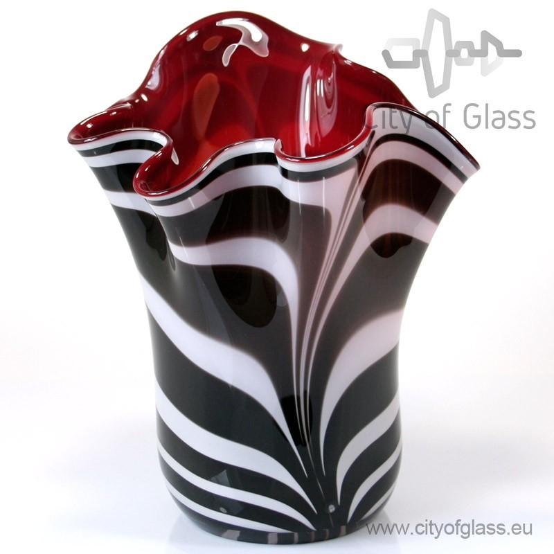 Vaas Zebra met rode binnenkant van Loranto - 35 cm