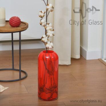 Rode glazen smalle vaas Inferno van Loranto - 30 cm