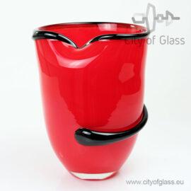 Rode vaas met zwarte slinger van Loranto