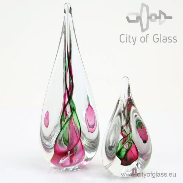 Kristallen druppel van Ozzaro - rood met groen