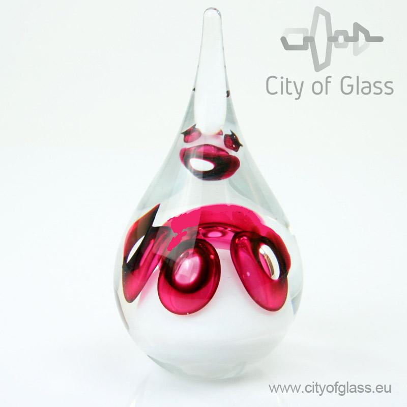 Kristallen druppel urn van Ozzaro rood - 15 cm