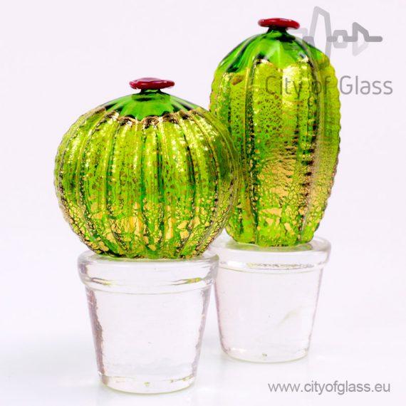 Murano glasobject Cactus met bladgoud