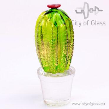 Cactus van Murano glas met bladgoud