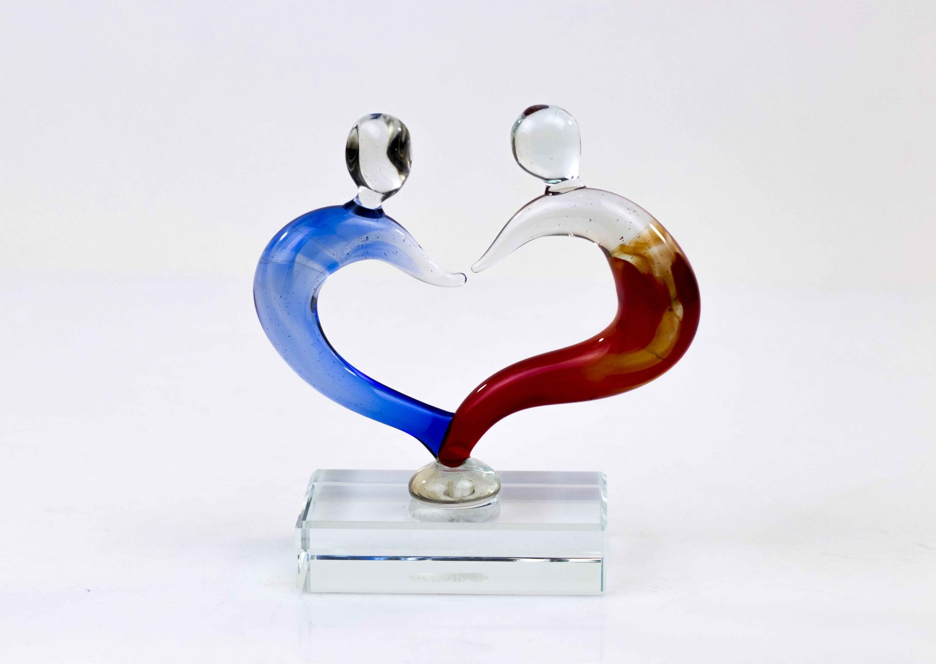 'Love' Glazen Beeld in Rood en Blauw