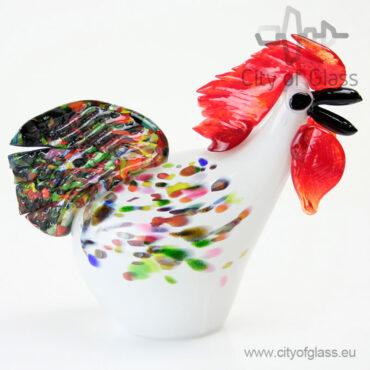 Glazen haan van Loranto - 19 cm wit