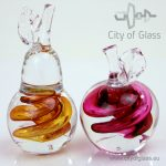 Crystal apple and pear by Ozzaro - red and gold