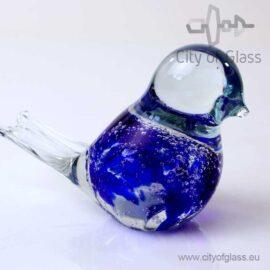 Glazen vogeltje van Loranto bubble - kobaltblauw