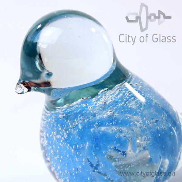 Glazen vogeltje van Loranto bubble - azuurblauw