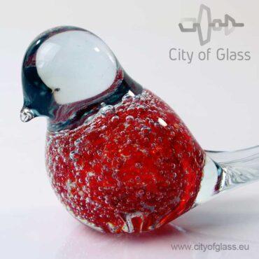 Glazen vogeltje van Loranto bubble - rood