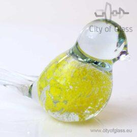 Glazen vogeltje van Loranto bubble - geel