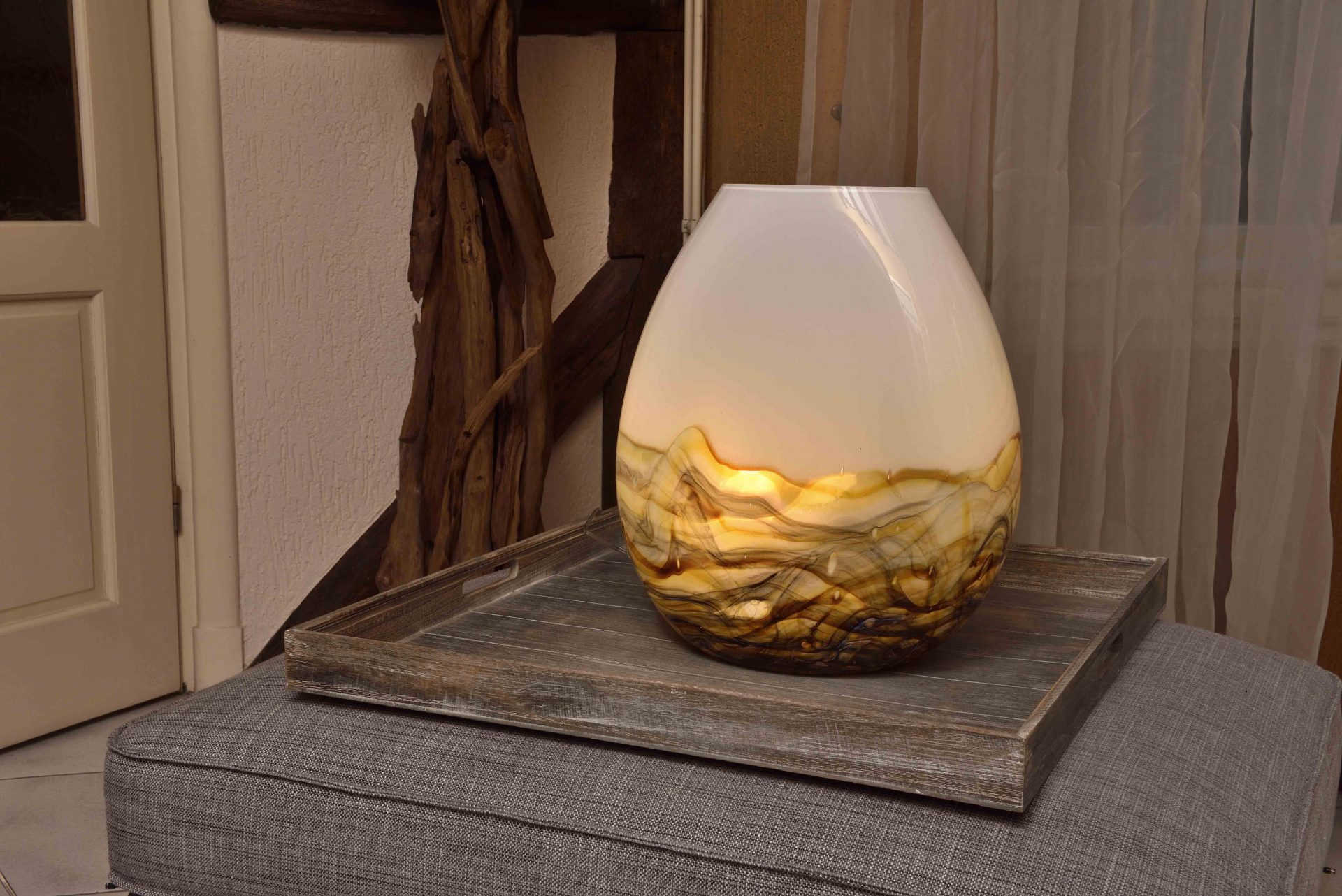 Glazen lamp Earth van Loranto - 40 cm