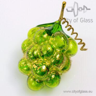Murano glasobject Druif met bladgoud - groen