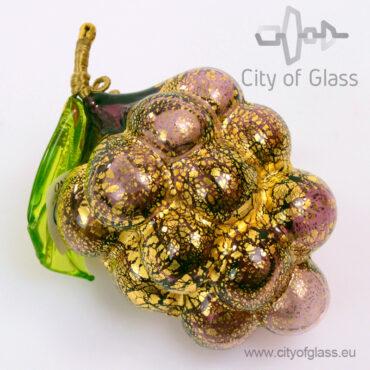 Murano glasobject Druif met bladgoud - paars