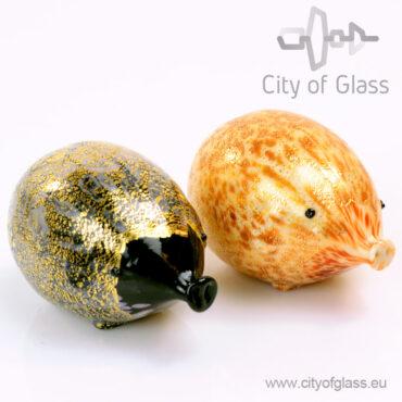 Murano glasobject Varken met bladgoud