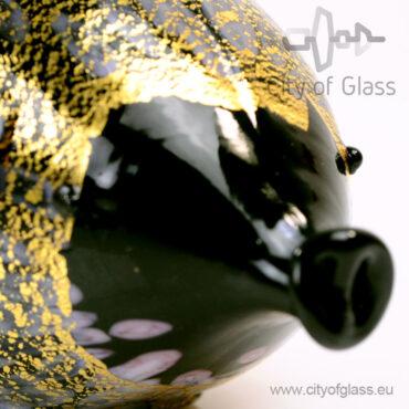 Murano glasobject Varken met bladgoud - zwart
