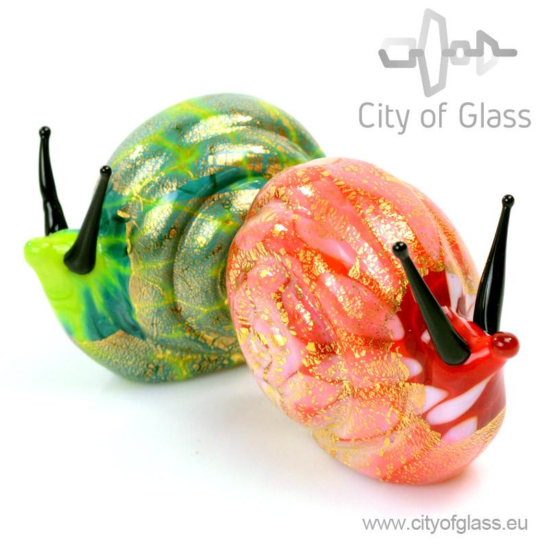 Slak van Murano glas met bladgoud