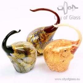 Murano glasobject Olifant met bladgoud