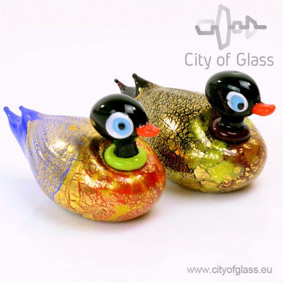 Murano glasobject Eend met bladgoud