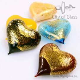 Murano glasobject Hart met bladgoud
